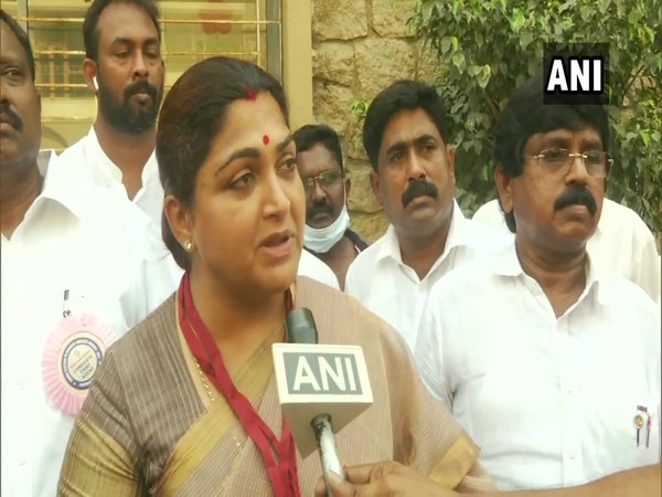 BJP candidate from Thousand Lights Assembly constituency Khushbu Sundar. (Photo/ANI)