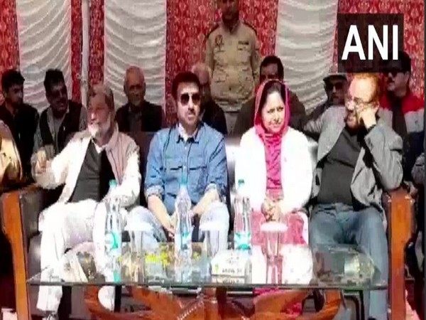 BJP MP Sunny Deol attends a public rally in Pathankot. Photo/ANI