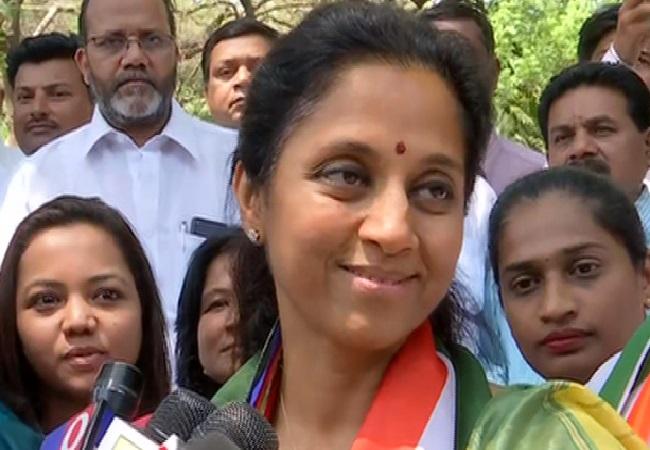 Supriya Sule speaking to media in Baramati in Maharashtra on Wednesday. (Photo/ANI)