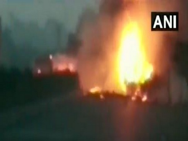 The mini truck engulfed in flames in Surat on Thursday [Photo/ANI]