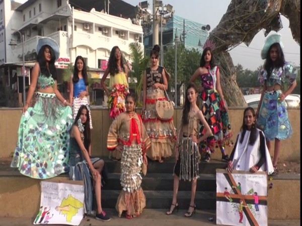 Fashion-designing students from IDT Surat showcasing garments made from waste materials. (Photo/ ANI)
