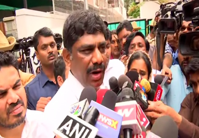 Karnataka Minister DK Suresh speaking to media in Bengaluru on July 8. Photo/ANI