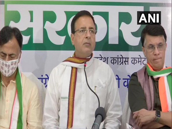 Congress leader Randeep Singh Surjewala speaking at a press conference on Thursday.