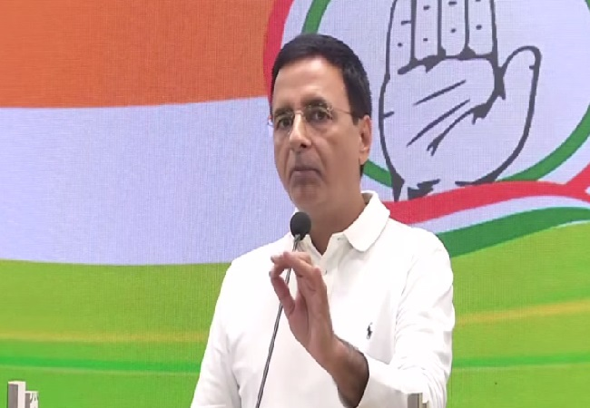 Randeep Singh Surjewala, Incharge AICC Communications speaking at a press conference in New Delhi on Thursday.