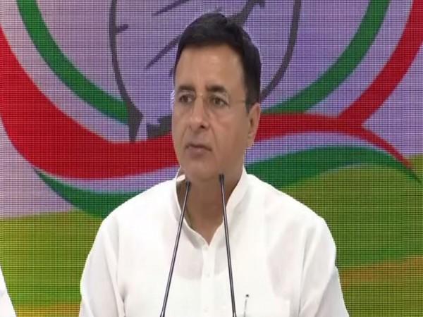 Congress spokesperson Randeep Singh Surjewala addressing a press conference in New Delhi on Saturday. Photo/ANI