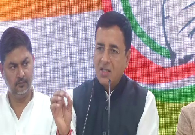 Congress spokesperson Randeep Singh Surjewala speaking at a press conference here (Photo/ANI)
