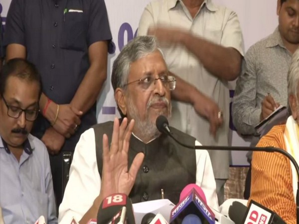 Bihar Deputy CM Sushil Kumar Modi speaking to reporters in Patna on Wednesday. Photo/ANI