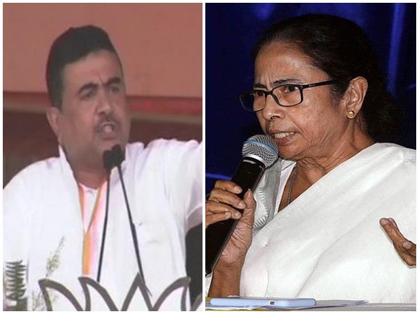 BJP leader Suvendu Adhikari, West Bengal Chief Minister Mamata Banerjee (Photo/ANI)