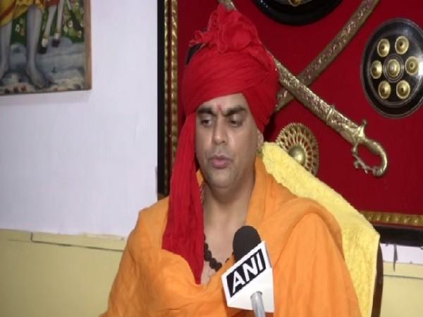Swami Chakrapani of Hindu Maha Sabha speaking to ANI in New Delhi on Friday. Photo/ANI