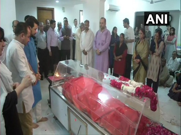 Mortal remains of Sushma Swaraj at her residence in New Delhi.