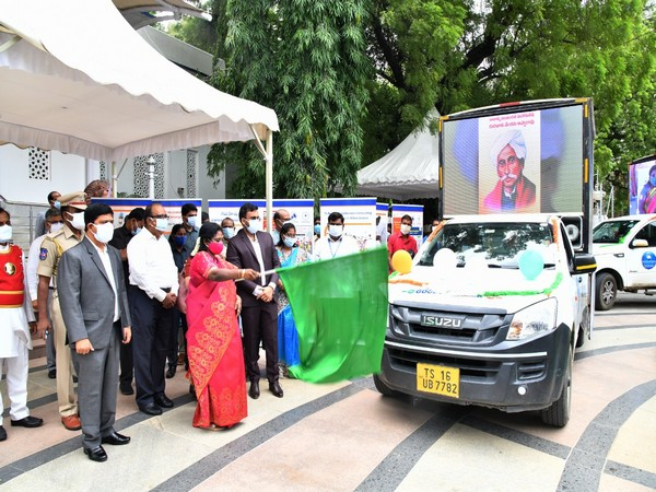 Visual of Telangana governor flagging off Mobile Digital Publicity Vans (Photo/ANI)