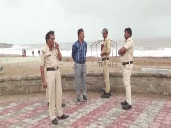 Diu Police officials patrolling the beach (Photo/ANI)