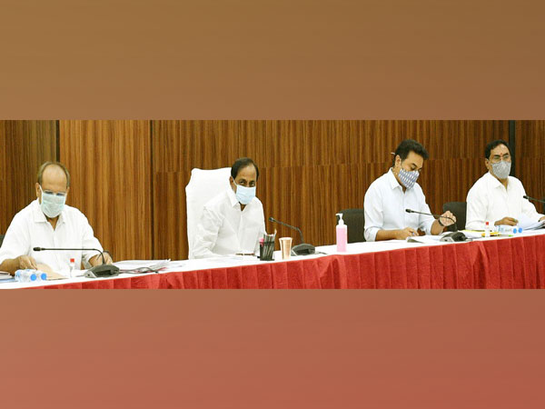 Visual of meeting chaired by Telangana Chief Minister K Chandrashekhar Rao (second from left) (Photo/Twitter)