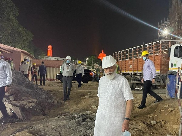 Prime Minister Narendra Modi inspecting construction site of the new parliament building in New Delhi on Sunday. (Photo/ANI)