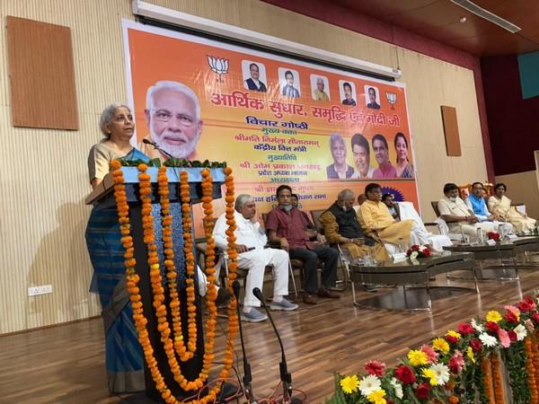 Union Finance Minister Nirmala Sitharaman in Panchkula on Friday. (Photo/ANI)