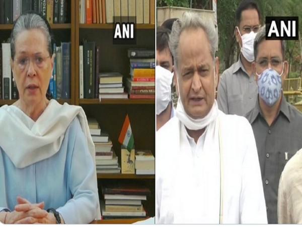 Congress interim President Sonia Gandhi, Rajasthan CM Ashok Gehlot (Photo/ANI)