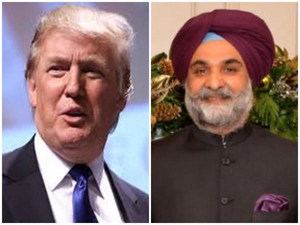 India's new US envoy, Taranjit Singh Sandhu and Donald Trump.