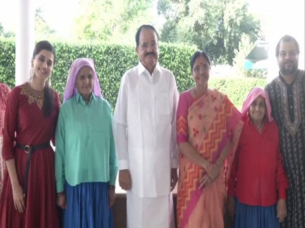 Taapsee Pannu (left) with Vice President M Venkaiah Naidu along with Chandro Tomar and Prakashi Tomar in New Delhi on Saturday. Photo/ANI