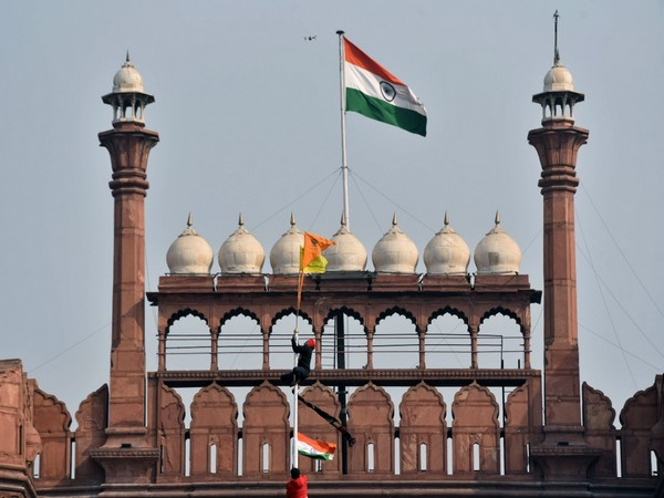 Visual of a flag waved by protesting farmers at Red Fort on January 26 (File Photo/ANI)