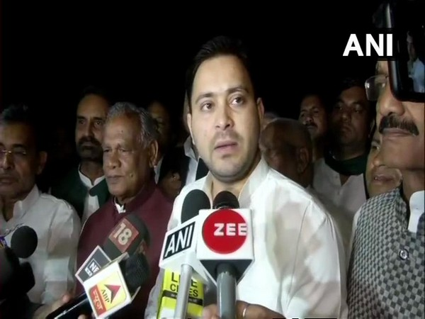 RJD leader Tejashwi Yadav briefing media persons after the Bihar Mahagathbandhan meeting in New Delhi on Wednesday