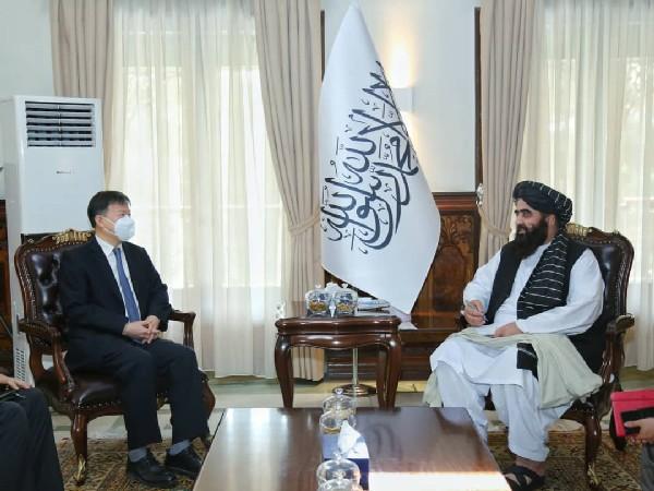 Afghanistan's acting foreign minister Mawlawi Amir Khan Muttaqi met with Wang Yu, the Ambassador of China. (Photo Credit: Abdul Qahar Balkhi Twitter)