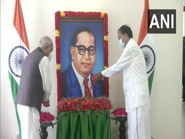 Vice President and Tamil Nadu Governor paying floral tribute to BR Ambedkar on Sunday. [Photo/ANI]