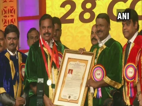 Tamil Nadu CM Edappadi K Palaniswami receives an honorary doctorate from Dr MGR Educational and Research Institute on Sunday. Photo/ANI