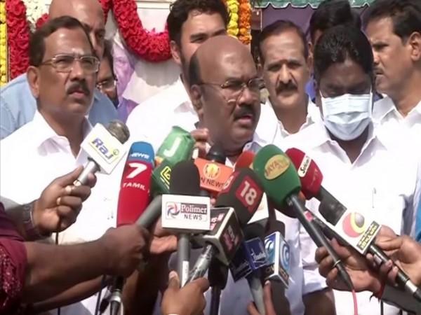 Tamil Nadu Fisheries Minister D Jayakumar speaking to media on Friday. (Photo/ANI)