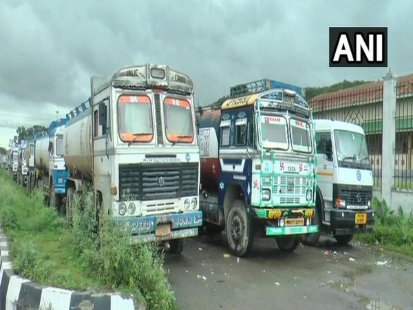 Drivers of oil tankers on strike from Wednesday in Imphal, Manipur. Photo/ANI