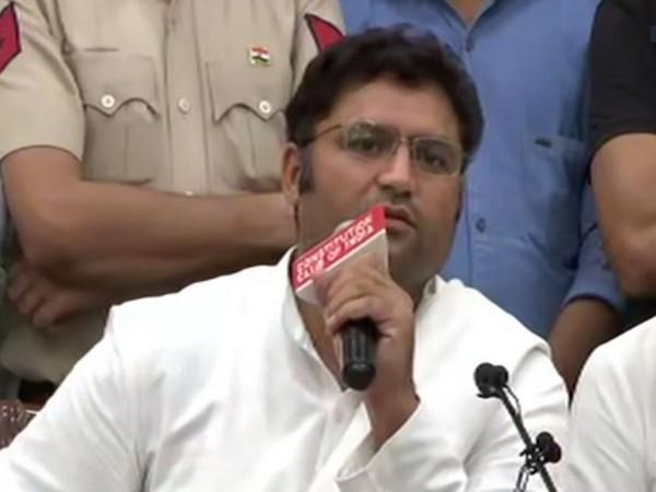 Congress leader Ashok Tanwar talking to the media in New Delhi on Thursday.  Photo/ANI