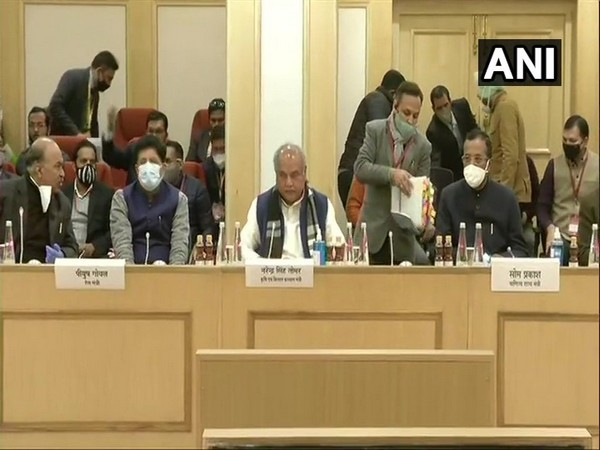 Union Agriculture Minister Narendra Singh Tomar and Union Minister Piyush Goyal, among others, were present at the meeting. (Photo/ANI)