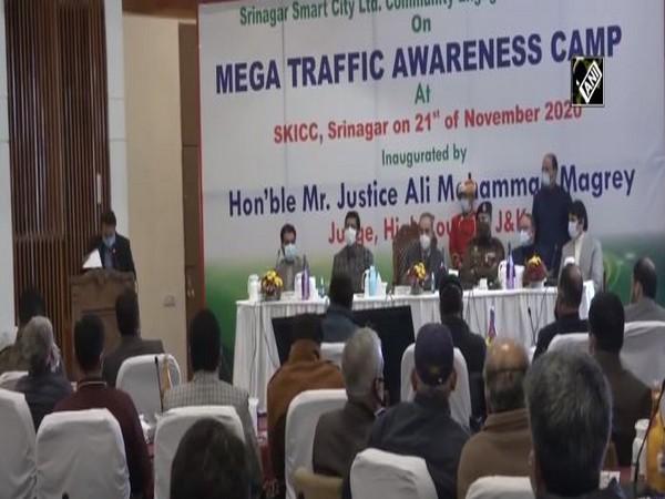 At the mega traffic awareness camp in Sringar on Saturday. (Photo/ANI)