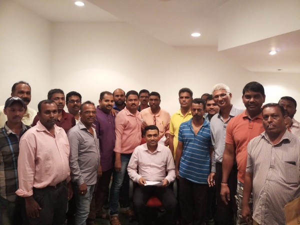 Goa CM Pramod Sawant with members of the Taxi Owners Association on Wednesday. Photo/ANI