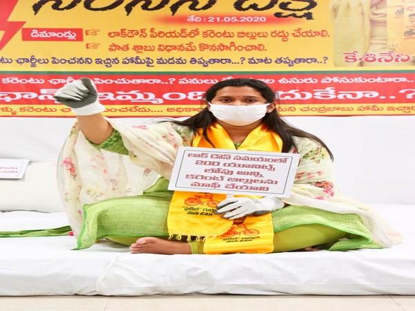 TDP leader Kesineni Swetha protesting in Vijayawada on Thursday.