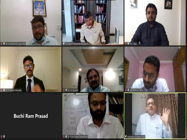 TDP chief N Chandrababu Naidu in an online meeting with COVID experts and doctors. Photo/ANI
