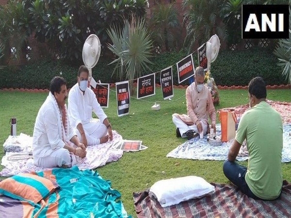 Suspended MPs at awn next to Gandhi statue in the Parliament premises on Tuesday. (Photo/ANI)