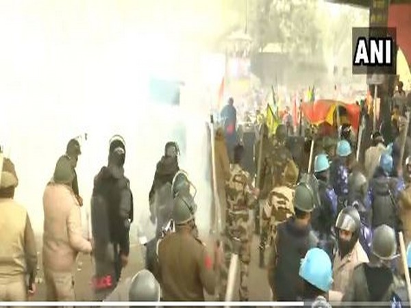Visuals from Delhi's Nangloi area during protest on Republic Day. (Photo/ANI)