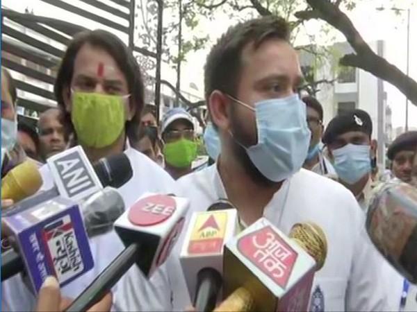 Rashtriya Janata Dal (RJD) leader Tejashwi Yadav speaking to media in Vaishali district on Wednesday. (Photo/ANI)
