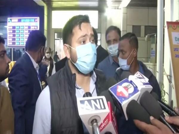 RJD leader Tejashwi Yadav speaking to media on Sunday.
