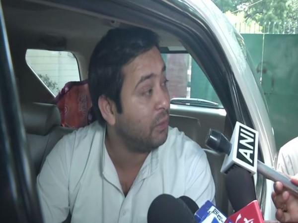 RJD leader Tejashwi Yadav speaking to ANI on Saturday in Patna. Photo/ANI
