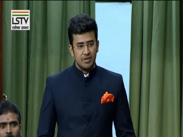 BJP MP Tejasvi Surya speaking in the parliament on Wedneday