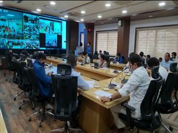 Municipal Administration and Urban Development Minister K Tarakarama Rao holds a video conference on Saturday. [Photo/ANI]