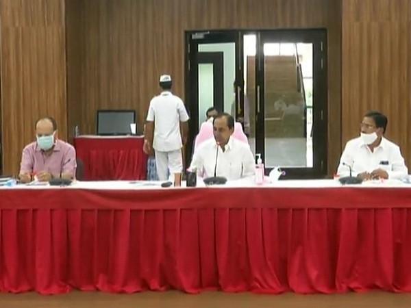 Telangana Chief Minister K Chandrashekhar Rao at the meeting in Hyderabad on Tuesday.