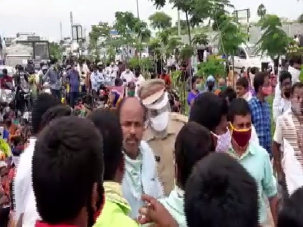 A visual from the strike that took place at Warangal national highway on Monday.