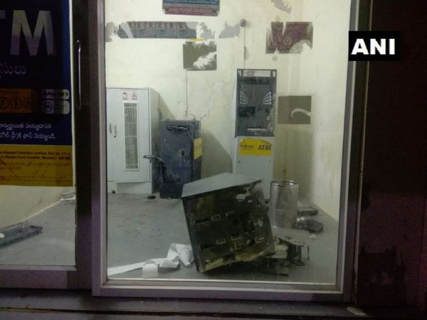 The ATM booth which was targeted by the thief in Ghatuppal village (Photo/ANI)