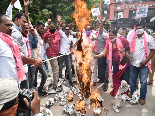 Coal mine workers affiliated to TBGKS hold protest against the privatisation of coal mines in Telangana.