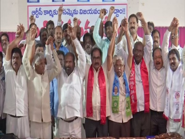 Leaders from different political parties present at the event on Wednesday in Hyderabad. Photo/ANI