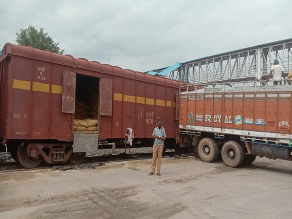 This is the first freight rake being loaded from the state of Telangana to Bangladesh country during the recent pandemic times. Photo/ANI