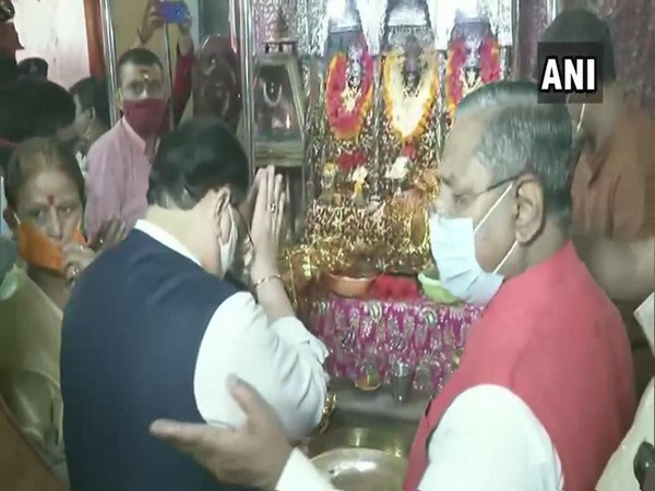 JP Nadda on Saturday morning visited the Badi Patan Devi Temple in Bihar's Patna. (Photo/ANI)