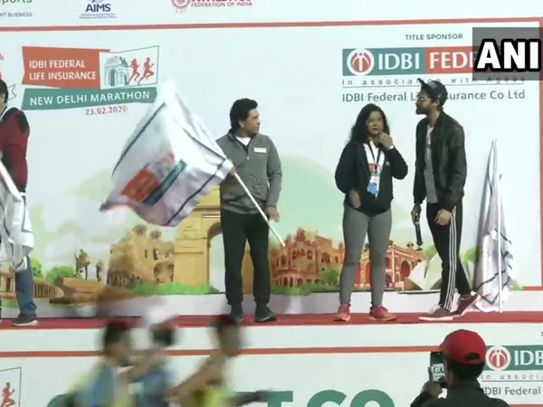 Former Indian cricketer Sachin Tendulkar on Sunday morning flagged off New Delhi Marathon at Jawaharlal Nehru Stadium.